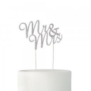 Crystal Rhinestone Mr & Mrs Cake Topper - Gold or Silver image