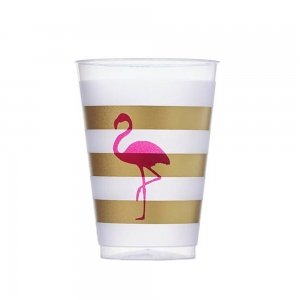 Pink Flamingo Frosted Plastic Tumblers (Set of 10) image