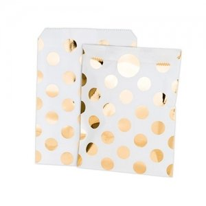 Gold Foil Polka Dot Paper Treat Bags with Stickers image