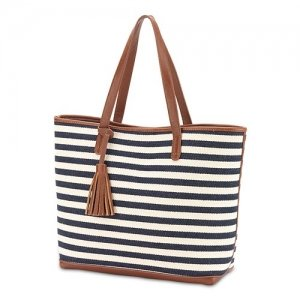Navy And White Stripe Knit Shoulder Bag Tote image
