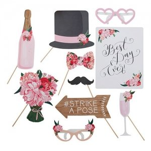Floral Whimsy Wedding Photo Booth Props image