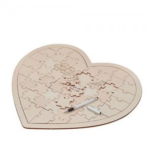 Wooden Heart Jigsaw Wedding Guest Book image