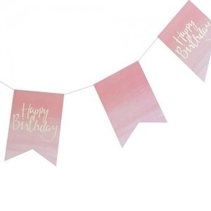 Happy Pink Watercolor Birthday Banner image