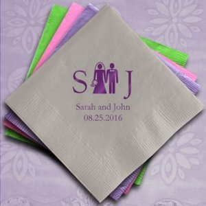 Bride & Groom Wedding Monogram Initial Napkins (100) image