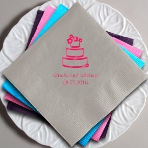 Personalized Wedding Cake Napkins image