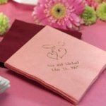 Double Heart Personalized Wedding Napkins