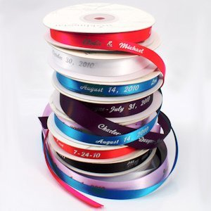 Personalized 3/8 inch Wedding Favor Ribbon image