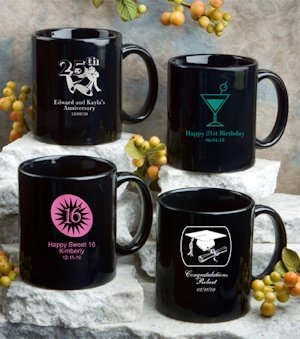 Personalized Black Party Favor Mugs - Sweet Celebrations image