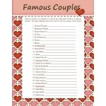 FREE Famous Couples Bridal Shower Game