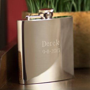 High Polish Engraved Stainless Steel Flask image