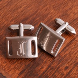 Silver Slotted Engravable Cuff Links with Initial image