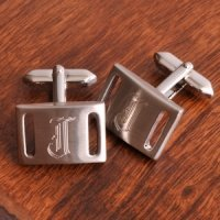 Silver Slotted Engravable Cuff Links with Initial