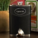 Engraved 8 oz. Black Leather Flask