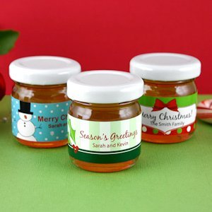 Custom Holiday Honey Jar Favors (Many Designs) image