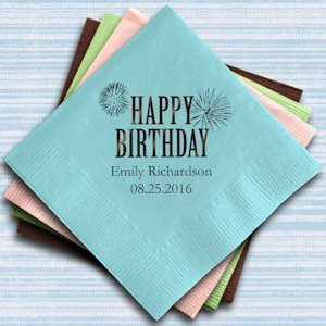 Personalized Happy Birthday Paper Napkins (Set of 100) image