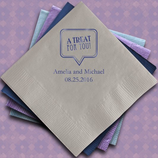 A treat for you printed wedding napkins set of 100 for Printed wedding napkins