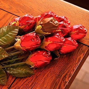 Foil Covered Chocolate Rose Stems (Case of 12) image