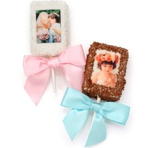 Chocolate Covered Wedding Rice Krispie Photo Pops image