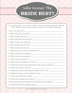 FREE Who Knows The Bride Best Game image