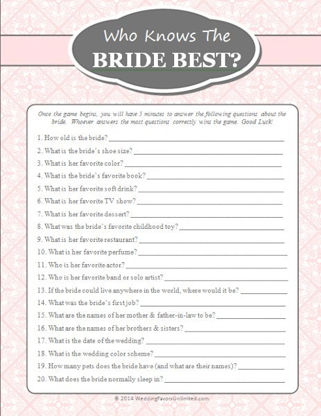 Free Who Knows The Bride Best Game